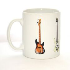 Bass Guitar Mug. 5 famous bass guitars on a mug #2 (Fender & Rick)