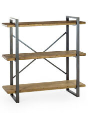 Industrial Style Metal & Rustic Wood Shelf Unit 110 x 110 x 40 cm