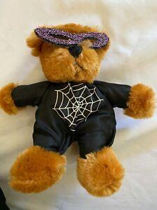 "Dan Dee Plush Halloween Teddy Bear 8"" Glitter spiderweb outfit makes noise"