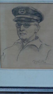 JOSEPHINE CRUMRINE(1917-2005.AK.)PENCIL SIGNED DRAWING OF RALPH W.NEWCOMB IN HAT