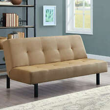 Tufted Futon Sofa Bed Microfiber Couch Lounger Sleeper Home Dorm  Furniture