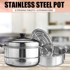 30CM 3 Tier Stainless Steel Steam Cooker Steamer Pan Cook Food Veg Pot Set Kit