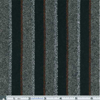 Black Multi Fancy Stripe Suiting, Fabric By The Yard