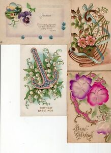 Lot of 8 Antique Postcards ~ Flowers Roses Horseshoe Anchor Forget-me-Nots