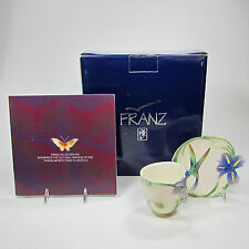 Franz Porcelain Collection Long Tail Hummingbird Cup Saucer MIB FZ00129 Retired