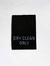50 PCS WOVEN LABELS, CARE LABEL - DRY CLEAN ONLY - BLACK