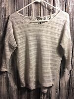 Pink Rose 3/4 Sleeved Knit Shirt Top Blouse- Women's Sm- Beige - Scoop Neck (B4)