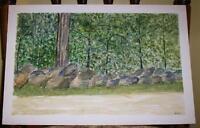 VINTAGE FOLK ART DISTRESSED NAIVE PRIMITIVE WOODS TREES ROCKS NATURE PAINTING