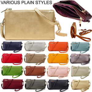 Small Plain Clutch Bag Purse Cross Body with Wristlet Over Shoulder Long Strap