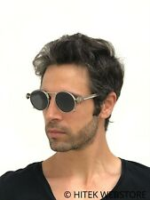 round silver metal sunglasses spring on temples retro Steampunk Goth flat lens