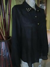 MINE! BLACK SHEER BUTTON DOWN BLOUSE!>SIZE M>COLLAR GOLD STUDS>Open at Back!
