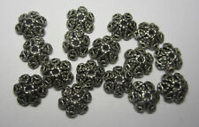 15 Pieces Of Bali Metal Filigree Bead Caps In Antique Silver 10mm Cap Style A
