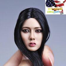 1/6 Asian Beauty Lady head black long hair for suntan Phicen kumik ❶US SELLER❶