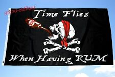3'X 5' TIME FLIES WHEN HAVING RUM  JOLLY ROGER PIRATE FLAG 3X5