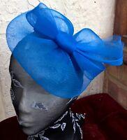 royal blue fascinator millinery burlesque wedding hat ascot race bridal party