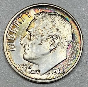 1962 Roosevelt 10C Uncirculated Silver Dime with Rainbow Toning!