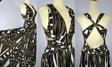 New Forever Unique strappy full deep plunge neck back abstract deco maxi dress 4