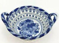 """Vintage Asian Porcelain Lattice 8"""" Bowl Blue and White"""