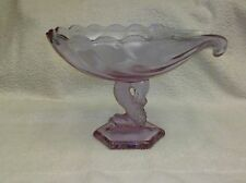 Viking Glass Signed Dolphin Footed Shell Compote Comport Dusty Rose Color