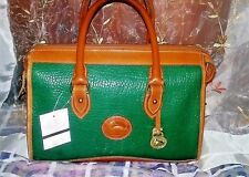 Vintage Dooney & Bourke Satchel Green & British Tan Leather Hand Bag