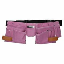 Pink Leather Tool Belt Builders Storage Pouch Tool Bag Holder 11 Pockets Loops
