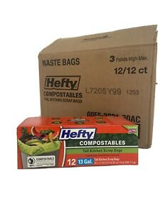 Reynolds Hefty Compostables 13 Gallon Tall Kitchen trash Scrap Bags 144 Count