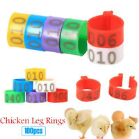 100PCS16MM 001-100 Numbered Plastic Poultry Chickens Ducks Goose Leg Bands Rings