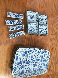 Blue And White Asian Sushi Serving Plates Setting for Four EUC