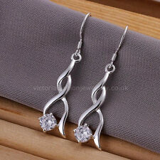 Twisted Gota colgantes pendientes de plata esterlina 925 Redonda Cristal Gancho Ladies Twist