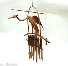Großer Bambus Kokos Wackelhals Vogel Klangspiel Windspiel 60 cm 6 Klangröhren