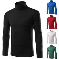 Mens T Shirt Cotton Slim Fit Muscle Top Long Sleeve Plain Turtle Neck TEE Shirts