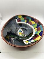 Keramos Israel Hand Painted Studio Art Pottery Enameled Ceramic Mosaic Bowl