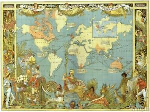 Vintage Map of The World 1886 Victorian British Empire Poster Art Print A3 A4