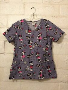Disney Mickey & Minnie Mouse Gray All Over Print 3 Pocket Scrub Top Size Small
