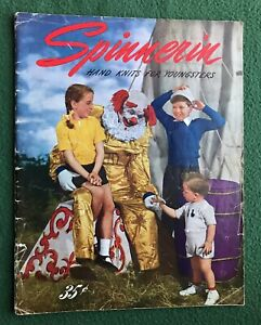 Spinnerin Hand Knits for Youngsters 1944 yarn vintage fashion clothes clown