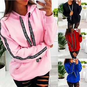 Plus Size Women's Letters Hooded Sweatshirt Casual Hoddies Pullover Tops Autumn