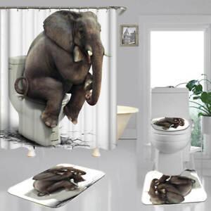 Elephant 3D Shower Curtain Bath Mat Toilet Cover Rug Funny Bathroom Decor