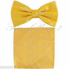 New BUTTERFLY Design Bow tie And Pocket Square Hanky Set Wedding Sunflower Gold