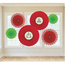 6x Navidad Papel Ventiladores Rojo y Verde Colgante Decoración Fiesta Invierno