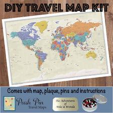 DIY Tan Oceans World Push Pin Travel Map Kit