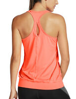 Women's Active Racerback Athletic Sports T-shirt Long Tank Top