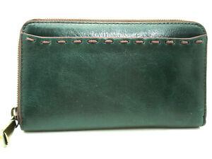 Authentic NWT Hobo Honor Leather Zip Around Clutch Wallet Evergreen Dark Green
