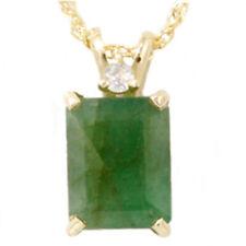 1CT Green Emerald & Diamond Solitaire Pendant Yellow Gold
