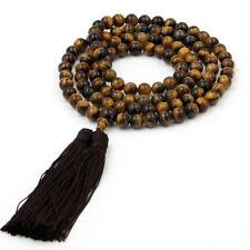 8mm Tiger Eye Gem Tibet Buddhist 108 Prayer Beads Mala Necklace