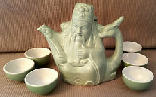 Chinese Ceramic Jade Green Buddha Wise Teapot Deer/Giraffe Handle Peach Cup Set