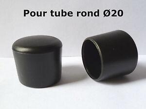 10 Bouchons embouts enveloppant pour tube rond pied de chaise PVC NOIR Ø 20 mm