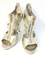 "Aldo Ladies Size UK 5 EUR 38 Gold Peep Toe High Heel Shoes Zip-up 5"""