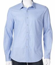 Mens Apt. 9 Casual Button-Down Shirt  Blue Slim-Fit Solid Textured Woven $44 2XL