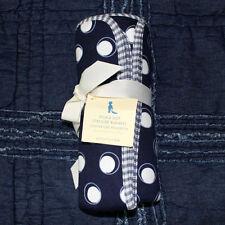POTTERY BARN KIDS Polka Dot knit Stroller Blanket reversible Navy White 30 x 40
