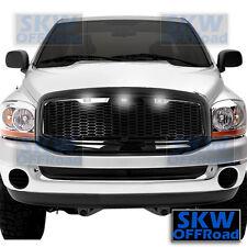 06-08 Dodge RAM Truck Raptor Style Gloss Black Mesh Grille+Shell+3x White LED